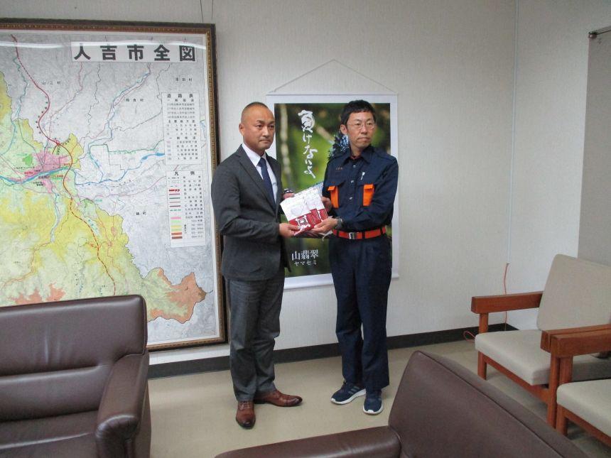 熊本県人吉市へ福助熊本工場製マスク 3,000枚を寄贈